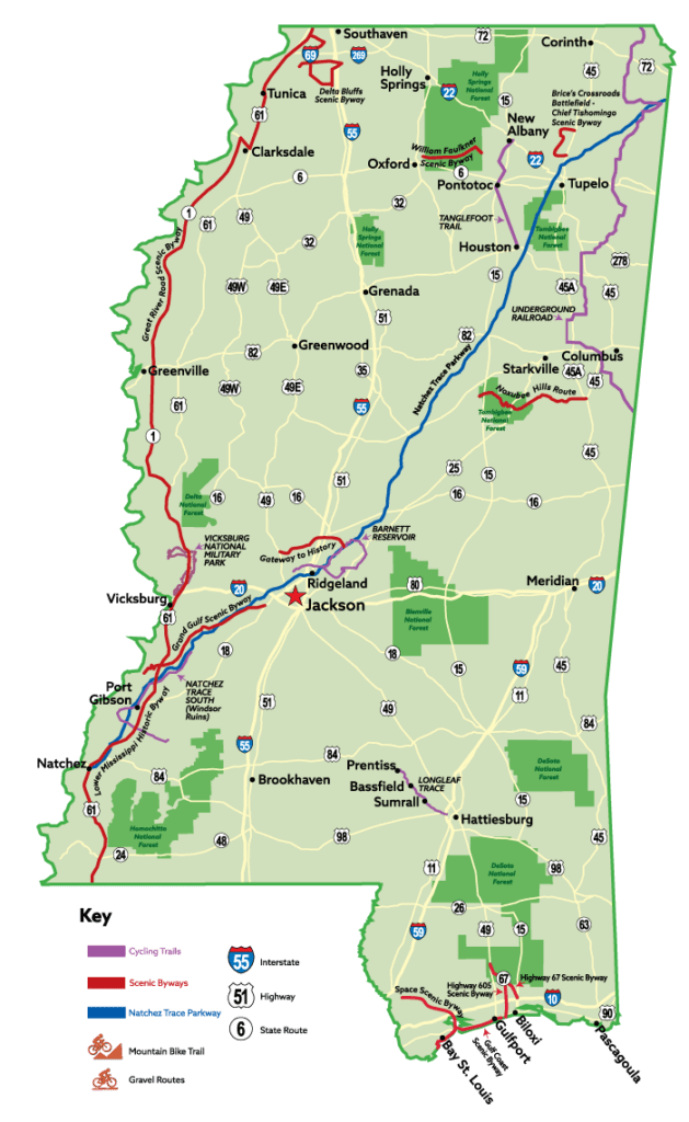Mississippi cycling trail map