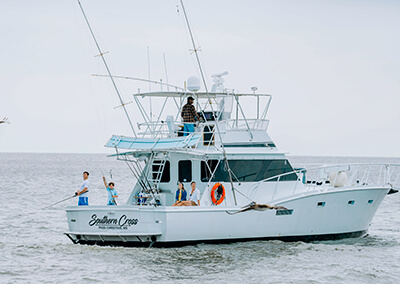 Fishing from a boat in Mississippi's Gulf Coast.